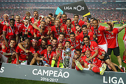 May 13, 2017 - Lisbon, Lisbon, Portugal - Benfica players celebrating wining the tetra Portuguese League title after the match between SL Benfica and Vitoria SC for the Portuguese Primeira Liga at Estadio da Luz on May 13, 2017 in Lisbon, Portugal. (Credit Image: © Dpi/NurPhoto via ZUMA Press)