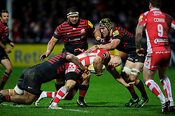 Gloucester Outside Centre (#13) Mike Tindall is tackled by Saracens Prop (#1) Mako Vunipola during the second half of the match - Photo mandatory by-line: Rogan Thomson/JMP - Tel: Mobile: 07966 386802 - 04/01/2014 - SPORT - RUGBY UNION - Kingsholm Stadium, Gloucester - Gloucester Rugby v Saracens - Aviva Premiership.