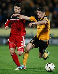 Bristol City's Richard Foster battles with Hull's Robbie Brady- Photo mandatory by-line: Matt Bunn/JMP  - Tel: Mobile:07966 386802 19/04/2013 - Hull City v Bristol City - SPORT - FOOTBALL - Championship -  Hull- KC Stadium