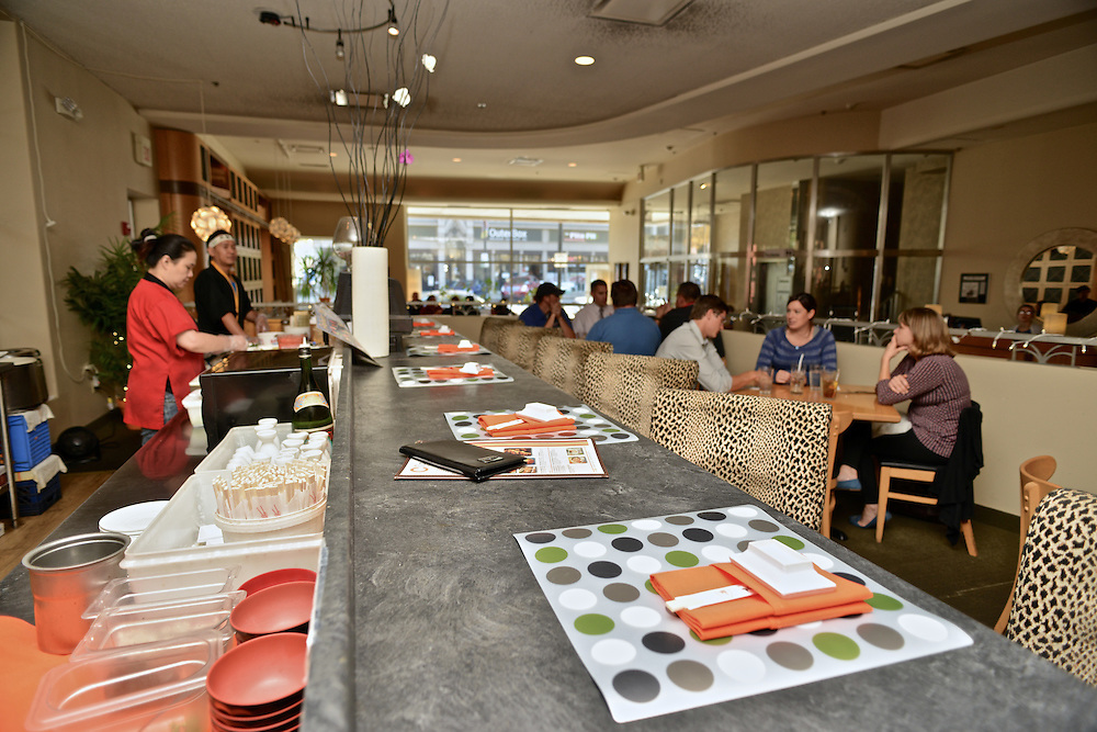 Side view of the sushi bar at Cilantro Thai & Sushi Restaurant.