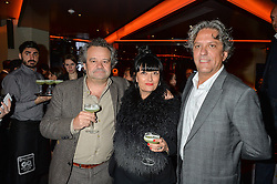 Left to right, MARK HIX, PLAXY LOCATELLI and GEORGIO LOCATELLI at the GQ Food & Drink Awards 2016 presented by Veuve Clicquot held at 100 Wardour Street, Soho, London on 26th April 2016.