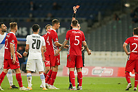 ATHENS, GREECE - OCTOBER 11: Veaceslav Posmacof Moldova is shown a red card during the UEFA Nations League group stage match between Greece and Moldova at OACA Spyros Louis on October 11, 2020 in Athens, Greece. (Photo by MB Media)