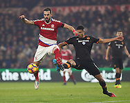 Alvaro Negredo of Middlesbrough tussles with Curtis Davies of Hull City during the English Premier League match at Riverside Stadium, Middlesbrough. Picture date: December 5th, 2016. Pic Jamie Tyerman/Sportimage