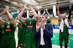 Bojan Radulovic, Zoran Martic, coach of Petrol Olimpija, Mirza Begic and Jordan Morgan celebrate after the basketball match between KK Krka Novo mesto and  KK Petrol Olimpija in 4th Final game of Liga Nova KBM za prvaka 2017/18, on May 27, 2018 in Sports hall Leona Stuklja, Novo mesto, Slovenia. Photo by Vid Ponikvar / Sportida