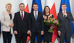 January 11, 2019 - Warsaw, Poland - (L-R) Agata Kornhauser-Duda, Andrzej Duda, Dawid Celt, Agnieszka Radwanska, Witold Banka, pose during an award ceremony of the Order of Polonia RestitutaIn in Warsaw, Poland, on 11 January 2019. (Credit Image: © Foto Olimpik/NurPhoto via ZUMA Press)