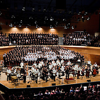 Over 650 singers from nine NYCoS Area Choirs throughout Scotland with the black shirts of the Changed Voice section of NYCoS National Boys Choir, conducted by Christopher Bell (pictured centre ) and joined by the Orchestra of Scottish Opera perform Tom Cunningham's specially commissioned 'Seven Planets and a Cosmic Rock ' at The Royal Concert Hall.  Actor Billy Boyd, patron of the National Boys Choir, narrated this section of the show.<br /> Glasgow. Sunday 8th May 2011<br /> Picture Drew Farrell<br /> Tel : 07721-735041.<br /> Note to Editors:  This image is free to be used editorially in the promotion of the NYCOS. Without prejudice ALL other licences without prior consent will be deemed a breach of copyright under the 1988. Copyright Design and Patents Act  and will be subject to payment or legal action, where appropriate. For further information please contact Vicky Tibbitt Marketing and Communications Manager 0141-287-2801.