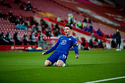 LIVERPOOL, ENGLAND - Thursday, March 4, 2021: Chelsea's Mason Mount celebrates after scoring the only goal of the game during the FA Premier League match between Liverpool FC and Chelsea FC at Anfield. Chelsea won 1-0 condemning Liverpool to their fifth consecutive home defeat for the first time in the club's history. (Pic by David Rawcliffe/Propaganda)