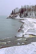 Lake Superior east shore in the winter. Lutsen Minnesota USA