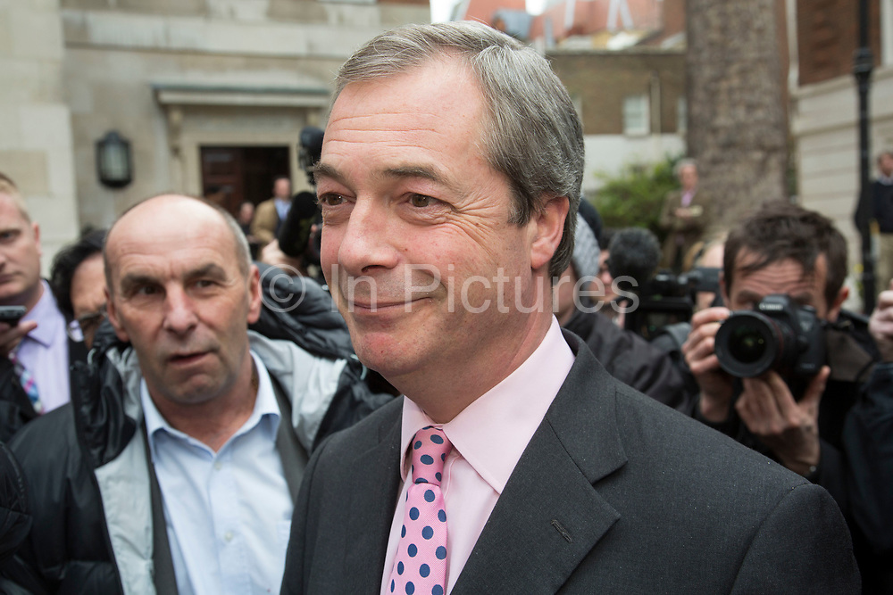London, UK. Monday 30th March 2015. Ukip leader Nigel Farage MP announces his party's key election pledgesatSmith Square, Westminster. The UK Independence Party, is a right-wing political party in the United Kingdom.