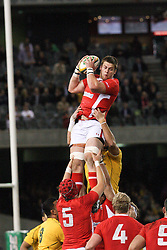 © Licensed to London News Pictures. 16/06/2012. Etihad Stadium, Melbourne Australia. Welsh player gets raised up during a line out during the 2nd Rugby Test between Australia Wallabies Vs Wales . Photo credit : Asanka Brendon Ratnayake/LNP