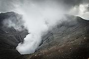 Smoking crater of Mount Bromo, Mt Bromo, Tengger massif, East Java, Indonesia, Southeast Asia