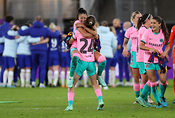 Barcelona's Bruna Vilamala celebrates with team-mates after victory in the UEFA Women's Champions League final, at Gamla Ullevi, Gothenburg. Picture date: Sunday May 16, 2021.