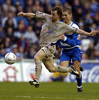 Fotball<br /> FA-cup 2005<br /> Reading v Leicester<br /> 29. januar 2005<br /> Foto: Digitalsport<br /> NORWAY ONLY<br /> David Connolly of Leicester outruns the defence for a shot at goal