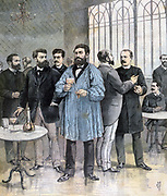Members of French Chamber of Deputies, left to right: MM Basry, Pelletan, Millerand,  Thivrier, Le Senne, Laguerre, Rivet, De Cassagnac. From 'Le Petit Journal', Paris, 5 November 1892. France, Politics, Politician, Government