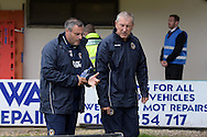 Newport county manager Terry Butcher ® looks on.Skybet football league two match, Newport county v York city at Rodney Parade in Newport, South Wales on Saturday 5th Sept 2015.  pic by Andrew Orchard, Andrew Orchard sports photography.