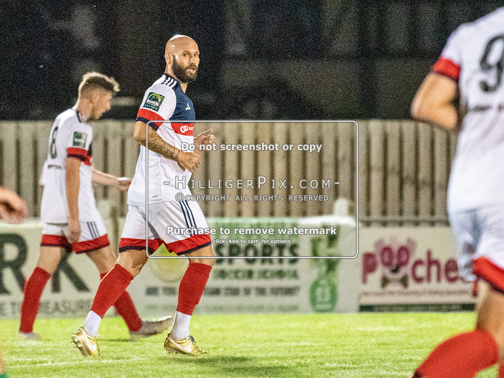 DARTFORD, UK - AUGUST 01: Karl Dent, of Cray Wanderers FC, runs back to his own half after scoring during the pre-season friendly match between Phoenix Sports FC and Cray Wanderers FC at The Mayplace Ground on August 1, 2019 in Dartford, UK. <br /> (Photo: Jon Hilliger)