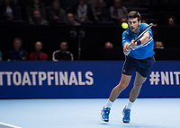 Tennis - 2019 Nitto ATP Finals at The O2 - Day One<br /> <br /> Singles Group Bjorn Borg: Novak Djokovic vs. Matteo Berrettini<br /> <br /> Novak Djokovic (Serbia) stretches to make the return of serve <br /> <br /> COLORSPORT/DANIEL BEARHAM