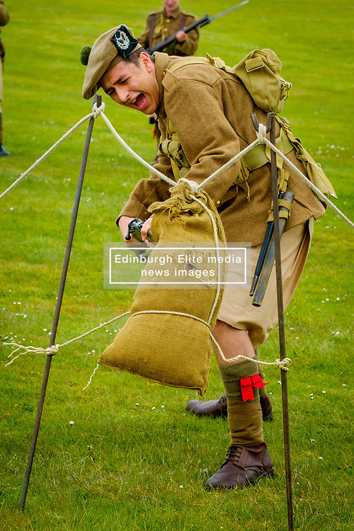 Sunday 7th May 2017 East Fortune:  Wartime Experience at the National Museum of Flight, East Fortune.  Bayonet practice display with reenactors in Gordon Highlanders uniform.<br /> <br /> (c) Andrew Wilson   Edinburgh Elite media