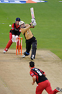 Warwickshire's Chris Woakes hits a shot off the bowling of Glamorgan's Jim Allenby. Friends Life T20 match, Glamorgan Dragons v Warwickshire Bears at the Swalec stadium in Cardiff, South Wales on Sunday 17th June 2012. pic by Andrew Orchard, Andrew Orchard sports photography,