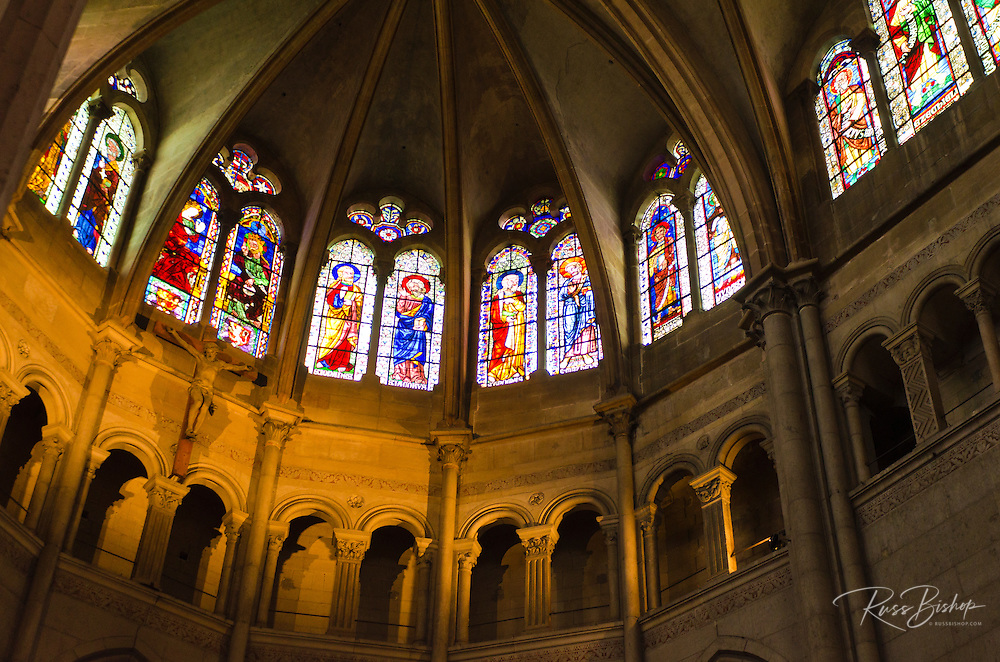 Stained glass window in Saint Jean Cathedral, old town Vieux Lyon, France (UNESCO World Heritage Site)