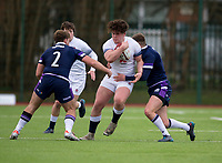 England's Alfie Barbeary is tackled by Scotland's Rory Jackson<br /> <br /> Photographer Bob Bradford/CameraSport<br /> <br /> The 2018 U18 6 Nations Festival - Scotland U18 v England U18 - Saturday 31st March 2018 - CCB Centre for Sporting Excellence, Ystrad Mynach Hengoed <br /> <br /> World Copyright © 2018 CameraSport. All rights reserved. 43 Linden Ave. Countesthorpe. Leicester. England. LE8 5PG - Tel: +44 (0) 116 277 4147 - admin@camerasport.com - www.camerasport.com