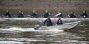 Putney, London,  Tideway Week, Championship Course. River Thames, OUWBC, Reserve Crew Coach, Jamie KIRKWOOD, coaching from the launch. <br /> <br /> Wednesday  29/03/2017<br /> [Mandatory Credit; Credit: Peter Spurrier/Intersport Images.com ]