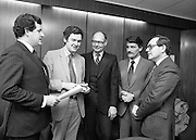 Federation Of Electronic & Informatic Industries.(N60)..1981..06.02.1981..02,06.1981..6th February 1981..The inaugural meeting of the Federation Of Electronic & Informatic Industries was held today at Confederation House, Kildare Street, Dublin..Pictured at the meeting were (L-R),.Mr E C Johnston,Director,Federation Of Electronic & Informatic Industries; Dr William Chambers. Managing Director, Molex Ltd, Industrial Estate, Shannon ,Co Clare; Mr George Demougeot, Managing Director, Westinghouse Electronics & Services Ltd, Industrial Estate, Shannon ,Co Clare; Mr Alan J Riding, Managing Director, C D S W ,Ireland Ltd, Industrial Estate, Shannon ,Co Clare and Mr John Barry, General Manager, Phillips Data Systems, Dublin.