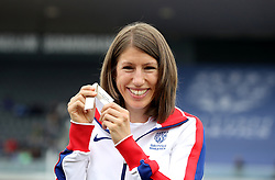 Great Britain's Hatti Archer receives an upgraded silver medal for the 2010 European Championships Steeplechase during the Muller Grand Prix at Alexander Stadium, Birmingham.