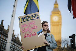 © Licensed to London News Pictures. 13/03/2017. London, UK. An emergency demonstration takes place outside Parliament whilst House of Commons vote on a Labour amendment to the Article 50 bill to guarantee the right of EU citizens to remain in the UK post-Brexit on 13 March 2017 in London. Photo credit: Tolga Akmen/LNP