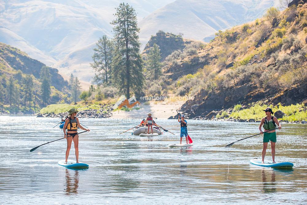 Paddle boarding and rafting  on the Main Lower Salmon River, Hammer Creek to Hellar Bar, Idaho.