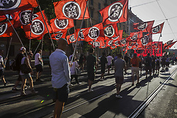 June 24, 2017 - Rome, Italy - Thousands of members of Italian far-right movement CasaPound from all over Italy march with flags and shout slogans during a demonstration to protest against the 'Ius Soli' in Rome. The 'Ius Soli' is the right of anyone born in the territory of a state to nationality or citizenship. (Credit Image: © Giuseppe Ciccia/Pacific Press via ZUMA Wire)