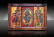 Altar of La Seu d'Urgell and the Apostles<br /> <br /> Second quarter of the twelfth century from a church in the diocese of Urgell, the whole poster espicopal of La Seu d'Urgell, Alt Urgell<br /> <br /> Aquired by the National Art Museum of Catalonia, Barcelona 1905. Ref: 15803 MNAC.<br /> <br /> <br /> La Seu d'Urgell was an important center of Romanesque panel painting. This altar front is one of the best examples, and is also one of the oldest preserved painted panels in Catalonia. At its centre is Christ Pantocrator surrounded by a Mandorla. Either side of this are the 12 Apostles arranged in two unusual pyramid shaped groups of six. This altar panel is a fine example from the workshop Urgell and demostrates a high standard of technical ability and creativity. .<br /> <br /> If you prefer you can also buy from our ALAMY PHOTO LIBRARY  Collection visit : https://www.alamy.com/portfolio/paul-williams-funkystock/romanesque-art-antiquities.html<br /> Type -     MNAC     - into the LOWER SEARCH WITHIN GALLERY box. Refine search by adding background colour, place, subject etc<br /> <br /> Visit our ROMANESQUE ART PHOTO COLLECTION for more   photos  to download or buy as prints https://funkystock.photoshelter.com/gallery-collection/Medieval-Romanesque-Art-Antiquities-Historic-Sites-Pictures-Images-of/C0000uYGQT94tY_Y