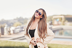 Chrissy Teigen sure has specs appeal in this photoshoot to plug her new sunglasses line with Quay Australia. The 33-year-old model and mother-of-two strikes a series of alluring poses in the campaign for the QUAY X CHRISSY line — a full range of blue light glasses and sunglasses, now available online. Quay — which is pronounced 'key' — picked Chrissy to be the face of the brand's global 'Education is Quay' campaign, which clarifies how to say the brand's name and also puts the blue light filtering glasses center stage. The glasses feature lenses with Blue Light Technology to help block harmful light from digital screens that may cause symptoms such as headaches, blurry vision and loss of sleep, and the prescription-ready frames can be taken to an optometrist to be filled. Quay CEO Jodi Bricker said of the collaboration: 'We reached out to Chrissy because she's a role model for authentic self-expression, with a huge range of dynamic roles - mother, entrepreneur, philanthropist, comedienne, entertainer - who pays it forward to empower millions of others across the globe.' Bricker added: 'When we're looking at partners, it's important to us that we're aligning with people who share the passion and sense of confidence that's so integral to our identity - and Chrissy has mastered that art over the years. We're a brand with a large online presence, and it's our responsibility to foster an open environment of self-expression for our community - online and out in the world.' As part of the multi-deal partnership, the brand released a new collection - comprised of Quay's best-selling frames in all-new, muted retro tones. The glasses are priced at AUD $60-$70 per pair, putting them in the affordable price bracket. Teigen said: 'I've come across Quay a number of times over the years through friends, so when the opportunity to partner came up, it felt right. I love that they offer something so special that's accessible to everyone - the product is b