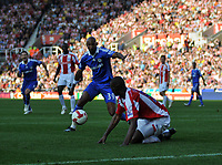 Photo: Tony Oudot/Richard Lane Photography. Stoke City v Chelsea. Barclays Premier League. 27/09/2008. <br /> GOAL!<br /> Nicolas Anelka pounces on a clearance from Stokes Leon Cort  to score the second goal for Chelsea