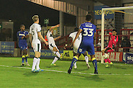 AFC Wimbledon striker Tyrone Barnett (23) scores a goal 2-1 and celebrates during the EFL Trophy match between AFC Wimbledon and Plymouth Argyle at the Cherry Red Records Stadium, Kingston, England on 4 October 2016. Photo by Stuart Butcher.