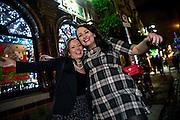 31/12/14 Chloe Marshall and Francesa Bradley, Scunthorpe, enjoying New Years Eve celebrations in Temple Bar, Dublin. Picture:Arthur Carron