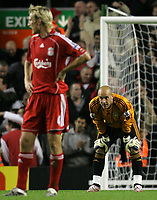 Photo: Paul Thomas.<br /> Liverpool v Arsenal. The FA Barclays Premiership. 28/10/2007.<br /> <br /> (L-R) Dejected Sami Hyypia and keeper Jose Reina of Liverpool after Arsenal score. *** Local Caption *** *** UK ONLY ***