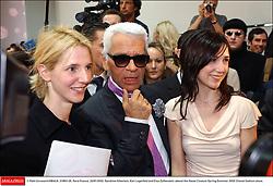 © Petit-Gorassini/ABACA. 31800-26. Paris-France, 22/01/2002. Sandrine Kiberlain, Karl Lagerfeld and Elsa Zylberstein attend the Haute Couture Spring-Summer 2002 Chanel fashion show.