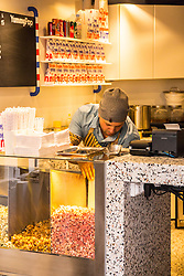 Inside view of popcorn store 'YummyPop' in the Marais district on its opening day, in Paris, France on October 22, 2016. Hollywood actress Scarlett Johansson opened together with her French husband, advertising executive Romain Dauriac, her own gourmet popcorn store, selling treats includingpopcornflavoured with Vermont cheddar, truffle, parmesan and sage. Photo by ABACAPRESS.COM