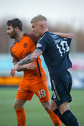 Dundee United's James Keatings and Falkirk's Craig Sibbald/ . Falkirk 6 v 1 Dundee United, Scottish Championship game played 6/1/2018 played at The Falkirk Stadium.