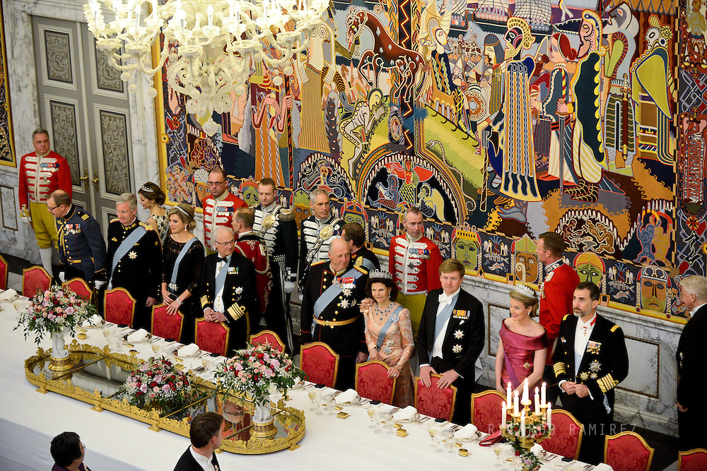 15.04.2015. Copenhagen, Denmark.<br /> King Philippe, Queen Maxima, King Carl XVI Gustaf of Sweden, Queen Margrethe II, King Harald of Norway, Queen Silvia of Sweden, King Willem-Alexander of The Netherlands, Queen Mathilde of Belgium and King Felipe of Spain during a Gala Dinner at Christiansborg Palace on the eve of The 75th Birthday of Queen Margrethe of Denmark.<br /> Photo:© Ricardo Ramirez