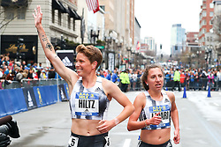 Nikki Hiltz, adidas, victory lap after winning BAA Mile