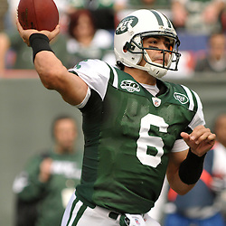 Nov 15, 2009; East Rutherford, NJ, USA; New York Jets quarterback Mark Sanchez (6) passes during first half NFL action between the New York Jets and Jacksonville Jaguars at Giants Stadium.