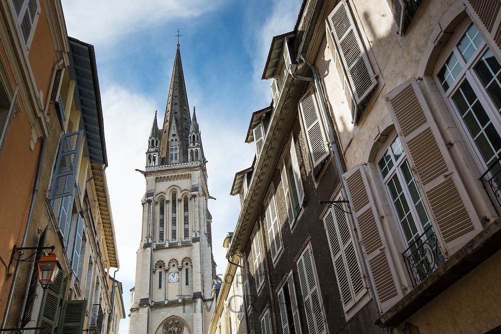 Eglise Saint-Martin, Church of Saint Martin, and traditional architecture in the streets of Pau in the Pyrenees, France