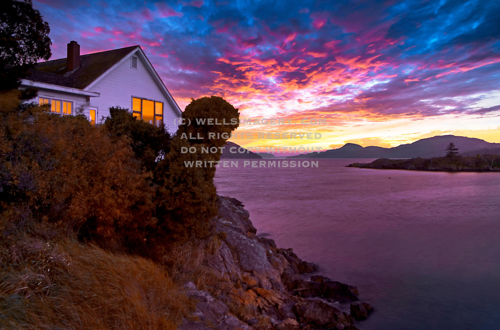 Image of Eastsound at dusk on Orcas Island, San Juan Islands, Washington, Pacific Northwest by Randy Wells