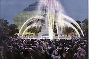 Fountains illuminated by electric light at the International Inventions Exhibition, Kensington, London August 1885