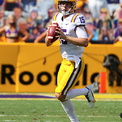 Sep 26, 2020; Baton Rouge, Louisiana, USA; LSU Tigers quarterback Myles Brennan (15) against the Mississippi State Bulldogs during the first half at Tiger Stadium. Mandatory Credit: Derick E. Hingle-USA TODAY Sports
