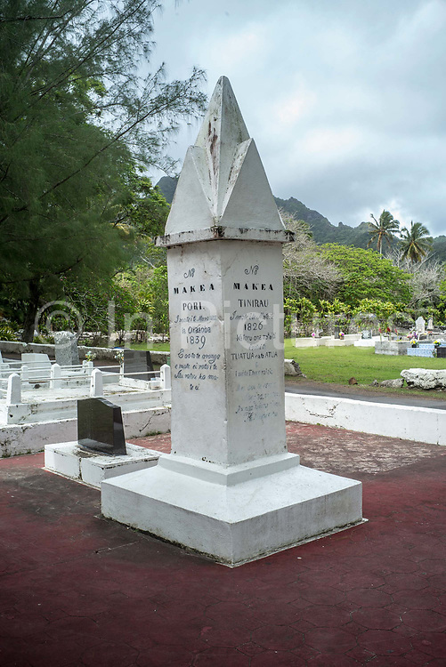 The cemetery of The Cook Island Christian Church CICC in Avarua, Rarotonga, The Cook Islands. Rarotonga is the capital and the most populous island of the Cook Islands. Captain John Dibbs, master of the colonial brig Endeavour, is credited as the European discoverer on 25 July 1823, while transporting the missionary Rev. John Williams.