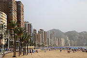 High rise apartment buildings and hotels seafront, Playa Levante sandy beach, Benidorm, Alicante province, Spain