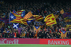March 14, 2018 - Barcelona, Spain - Supporters of FC Barcelona wave flags during the UEFA Champions League, round of 16, 2nd leg football match between FC Barcelona and Chelsea FC on March 14, 2018 at Camp Nou stadium in Barcelona, Spain (Credit Image: © Manuel Blondeau via ZUMA Wire)